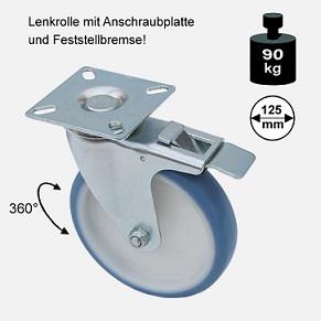Rollen und Räder-125mm-soft-lenkrolle-bremse-3725-1