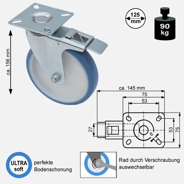 Rollen und Räder-125mm-soft-lenkrolle-bremse-3725-2