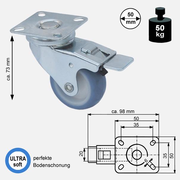 Rollen und Räder-50mm-soft-lenkrolle-bremse-3550-2