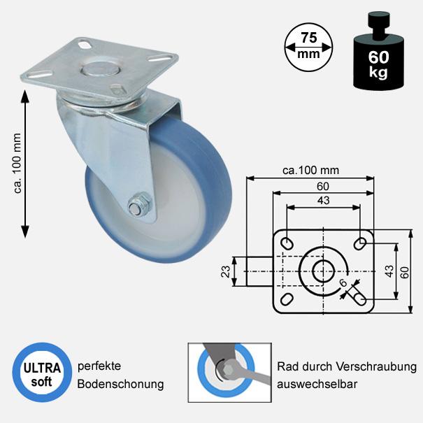 Rollen und Räder-75mm-soft-lenkrolle-1775-2