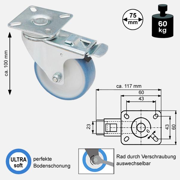 Rollen und Räder-75mm-soft-lenkrolle-bremse-3775-2